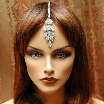 Gypsy Jewelry, Crystal Head Piece, Bollywodd Tikka Headpiece, Bridal Wedding Hair Chain, Indian Jewelry, Tribal Jewelry