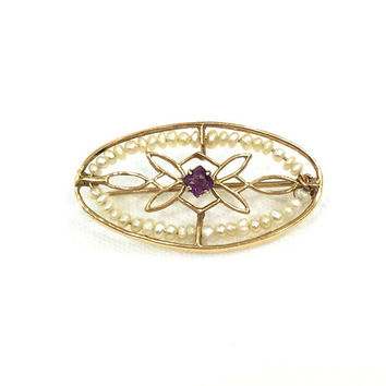 14K Gold  & Pearl Oval Pin, Amethyst Paste Stone, Seed Pearls, Fibula Style Catch Pin, 1910s, Edwardian Antique Jewelry
