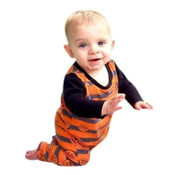 MUQGEW Funny Baby Clothes Cartoon Printed Halloween Pumpkin Romper one piece Jumpsuit Outfit Clothes Body Menina Q06