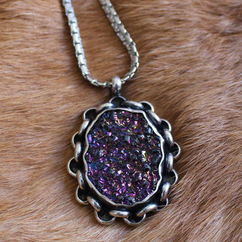 rainbow druzy + chain link border | sterling silver pendant necklace