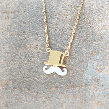 Mustache and Top hat Necklace in gold chain