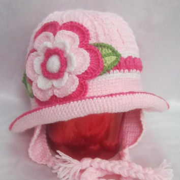 Toddler Girls Winter Hat, Toddler Girls Panama, Girl Winter Hat, Pink Crochet Baby Earflaps, Flower Earflap, Ear Flap Hat, Girls Winter Hats