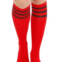 Red Black Stripe Knee-High Socks - 171380