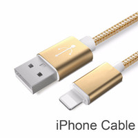 Golden Nylon Line and Metal Plug Micro USB Cable for iPhone & Samsung
