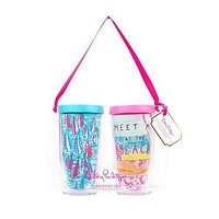 Insulated Tumbler Set in Meet Me at The Beach/Red Right Turn by Lilly Pulitzer