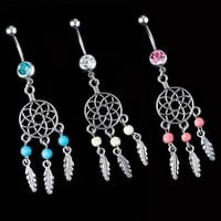 1PC Crystal Gem Dream Catcher Navel Dangle Ring Body Belly Barbell Button Bar = 1646017604