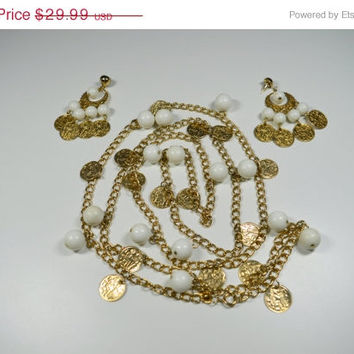 25% OFF Park Lane Necklace and Pierced Earring Set Egyptian Design White Beads Dangle Statement Earrings Park Lane Jewelry Set