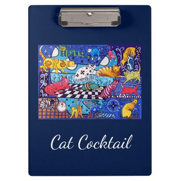 Cat Cocktail Whimsical Mix of Colorful Cats Clipboard
