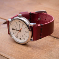 Cherry Leather Watch Strap