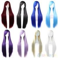 New Fashion Womens Hair Long Anime Wigs Cosplay Wigs Full Straight