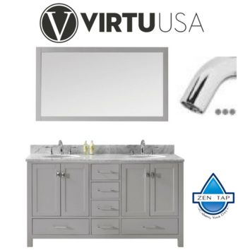 "Caroline Avenue 60"" Double Bathroom Vanity in Cashmere Grey with Marble Top and Round Sink with Brushed Nickel Faucet and Mirror"