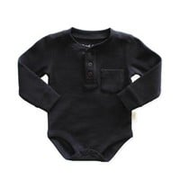 Planet Cotton® Thermal Henley Bodysuit in Black