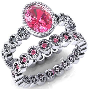 Borea Oval Lab-Created Pink Sapphire Full Bezel Milgrain Diamond Accent Full Eternity Ring