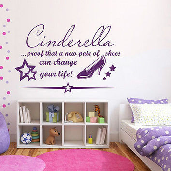 Cinderella Quote Wall Decals Prof That A New Pair Decal Girl Room Decor MR354