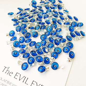 Navy blue evil eye charm | evil eye silver pendant | tiny glass evil eye charms | evil eye necklace pendant | evil eye connectors | silver