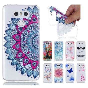 3D Relief Phone Case For LG G6 Mandala Flower Painted Tree Soft Silicone Cover For LG G 6 LG G6 5.7 inch Mobile Phone Shell