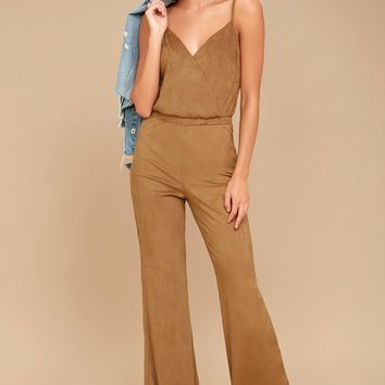 Jack by BB Dakota Gertrude Light Brown Suede Wide-Leg Jumpsuit