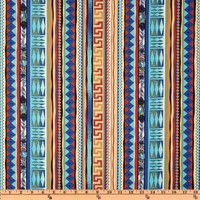 44'' Wide America Indian Tribal Elements Stripe Blue Fabric By The Yard