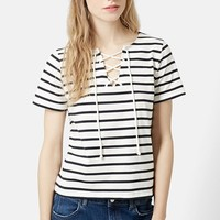 Women's Topshop Lace-Up Nautical Top