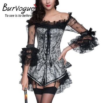 Burvogue 2017 Steampunk Corset Dress Lace Evening Sexy Women Corset and Bustier Plus Size Push up Gothic Corset dress