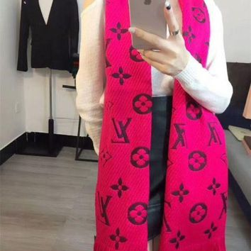 DCC3W Luxury Louis Vuitton LV Keep Warm Scarf Soft Scarves Winter Wool Beautiful Shawl Monogram Flower