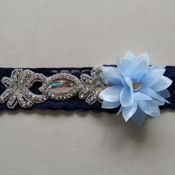 Navy blue rhinestone wedding garter blue flower wedding toss garter  bridal garter gothic steampunk noir bridal prom party woman gift Lolita