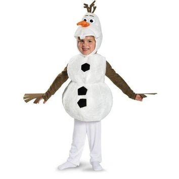 DKLW8 Olaf Deluxe Toddler Costume Kids Movie Cosplay Jumpsuit + Tunic + Headpiece Cute Snowman Halloween Carnival Party Fancy Dress