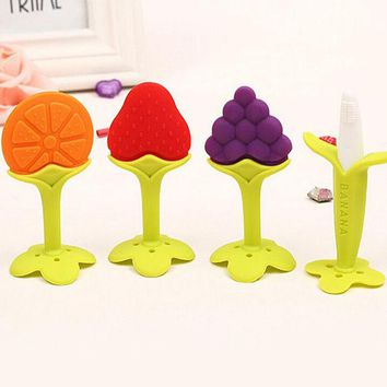 DCCKL72 Baby Teether Fruit and Vegetable Shape Teether Silicone 2016 Brand New Baby Dental Care Toothbrush Training Baby Care Silicone