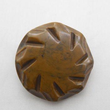 """Large Mossy Brown Button 1 3/4"""", Vintage Large Button with Carved Pinwheel Style, Large Sewing Button with Shank"""