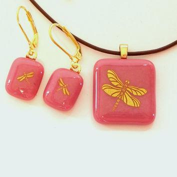 Gold Dragonfly Fused Glass Pendant Necklace and Earring Set Pink Glass