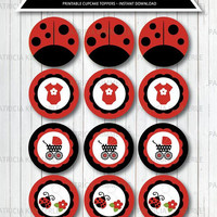 Printable Cupcake Toppers, Ladybug Babyshower, Party Decorations, DIY, Girl, Favors, First, Red, INSTANT DOWNLOAD