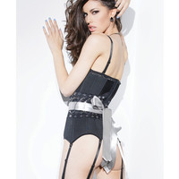 Spellbound Fully Boned Corset W-six Garters, Removable Strps & Rbbon Restraint Or Belt Blk-slv Xl
