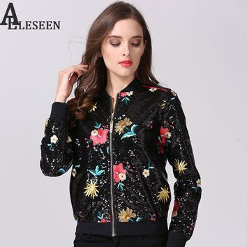 European Luxury Jackets 2017 New Women Autumn Winter Floral High Quality Slim Black Designer Embroidery Sequins Jacket