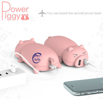 Cute piggy Portable Power Bank 10000mAh Universal External Battery Backup Charger Birthday Gift For Mobile Phones For iphone