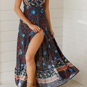 Fashion V-Neck Beach Printed Bohemian Maxi Dresses