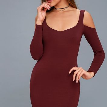 Dimitri Burgundy Cold-Shoulder Bodycon Dress