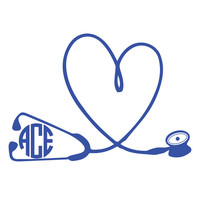 Stethoscope Heart Nursing Circle Font Monogram Decal, ONE COLOR, Doctor Decal, Nursing Decal, iPhone Decal, Car Decal