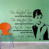 Audrey Hepburn Wall Decal 16x13 inches - For Beautiful Eyes