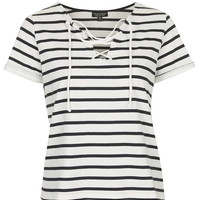 Tie-Front Striped Top - Topshop