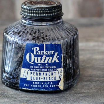1940's Parker Quink Jar with Dried Ink Inside