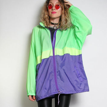 90s Neon Windbreaker - Florescent Vintage Windbreaker Jacket - Size X Large XL Unisex Mens Wind Breaker - Colorblock Colour Block Jacket