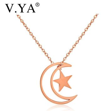 V.Ya Lovely Moon& Star Choker Necklaces for Women Fashion Rose Gold Color Stainless Steel Pendant Wedding Jewelry Gifts Dropship