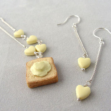 Buttered Toast Pendant and Earrings Set Minature Food by TheMenu