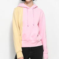 Married To The Mob Bi Polar Pink Colorblocked Hoodie
