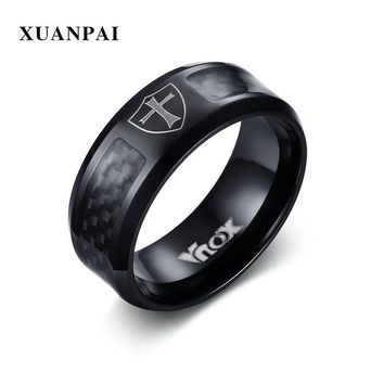 XUANPAI Men Rings Carbon Fiber Jewelry Stainless Steel All Black Color Knight Templar Cross Symbol Punk Male Ring