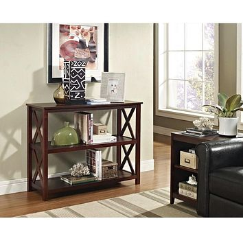 Console Sofa Table 3-Shelf Accent Display Bookcase in Espresso