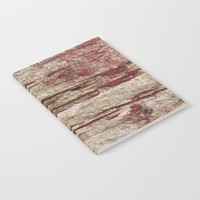 Old wood with red paint Notebook by Tanja Riedel