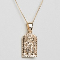 Chained & Able St. Christopher Mini Tag Necklace In Gold at asos.com