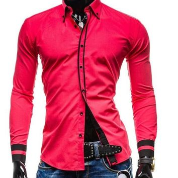 New Mens Long Sleeved Double Collar Button Shirts size mlxl