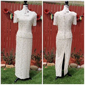 Vintage 80s cream beaded lace formal dress / ivory off white lace evening gown / 1980s Stennay beaded maxi  long dress / size 7 / 8